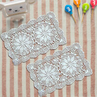 Rectangle Handmade Crochet Doilies Placemat Cotton Lace Doily Table Cover Pad