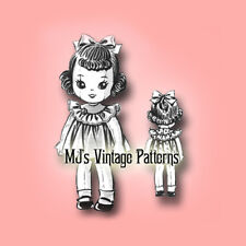 "Vintage Doll Pattern ~ 15"" tall Wide-Eyed Girl Cloth Doll Stuffed Toy"