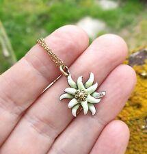 Vintage Gold Tone Metal & Enamel Edelweiss Flower Pendant