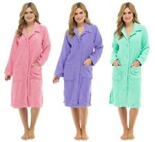 Ladies 100% Cotton Towelling Robe with Button Front