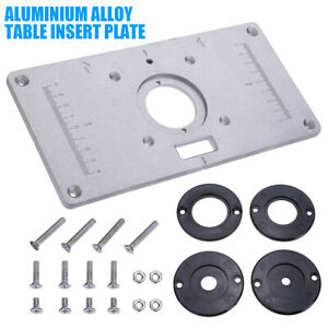 Aluminum Router Table Insert Plate w/ 4 Rings Screws for Woodworking Benches !
