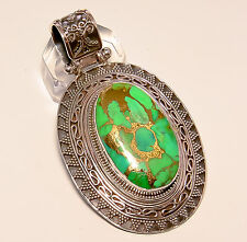 """COPPER GREEN TURQUOISE VINTAGE STYLE 925 STERLING SILVER PENDANT 2.35"""""""