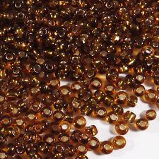Perles de Rocailles en verre 2mm Trou Argenté Marron 20g (12/0)
