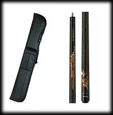 New Action ADV85 Pool Cue Stick - Black Maple w/Wolves & Moon 18 - 21 oz & Case