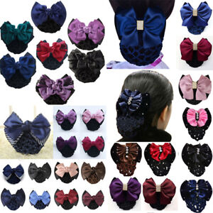 Satin Bow Barrette Hair Clip Hairpins Cover Net Bun Snood Bowknot Women Bridal