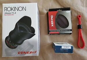 ROKINON/Samyang 35mm T1.5 (f/1.4) Cine DS Full Frame Lens Sony AF & NEX + Var ND