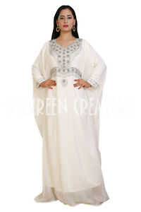 Moroccan Modern Kaftan Farasha Bell Sleeve Georgette Zari Work Maxi Style Dress