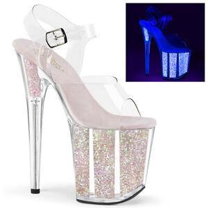 Pleaser FLAMINGO-808UVG UV Blacklight Opal Glitter Platform Women's Sandal Heel