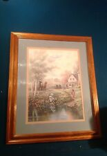 """19.5x23.25"""" Wood Framed Picture Horses & Wagons, Barns, House, Farm"""
