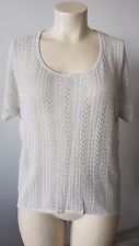 Katies Silver Shimmer Knitted Chic Top Plus Size 1XL