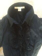 Diane Von Furstenberg navy shirt with ruffle front, size 2