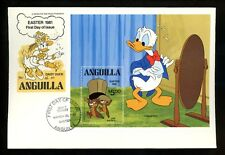 Disney FDC Anguilla #443 S/S Easter 1981 Donald Duck Daisy Chip & Dale