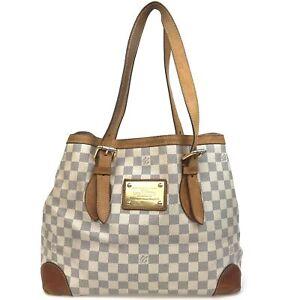 100% authentic Louis Vuitton Damier Azur Hampstead MM N51206 [Used] {05-0418}
