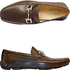 Ferragamo mocassini pelle uomo men's shoes loafers marrone brown 9.5 EE