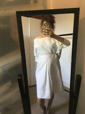 White Stripe Linen Batwing Dress, Medium