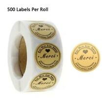 500pcs Kraft Merci French Thank You labels Stickers Envelope Package Seal