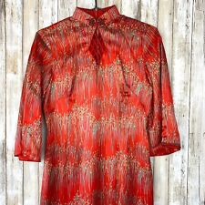 Vintage VTG Chinese Women's Silk Long Dress Cheongsam Qipao Traditional Red WOW