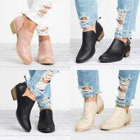 Women Ankle Boots Cut-out Low Block Heel Casual Sandals Short Booties Pump Shoes