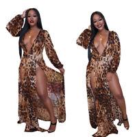 New Sexy Women's Deep V Neck Side Slit Long Sleeves Leopard Maxi Dress Nightclub