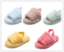 Summer Ladies Shoes Women Fur Fluffy Sliders Slippers Slip On Flat Mules Sandals