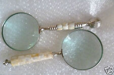 Vintage Magnifying Glasses with Mother Of Pearl Handle & Stainless Steel; PAIR