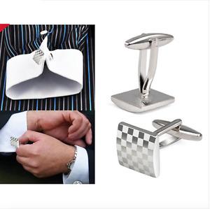 Mens Boys Stainless Steel Business Shirt Silver Square Lattice Wedding CUFFLINKS