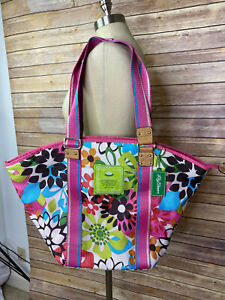Lily Bloom Tote Bag Flower Floral Zipper Overnight Carry On Large Shopper Purse