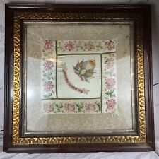 More details for antique ww1 souvenir of the great war tapestry silk framed tablecloth picture