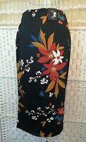 M&S Ladies Womens Skirt Size 8 UK Blue Floral Print Cotton Stretch Pencil Midi