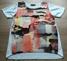 MARKS AND SPENCER COLLECTION Size 14 WHITE BACK S/S TOP ABSTRACT FRONT FREE P&P