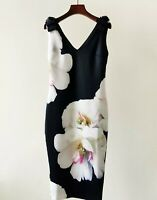 AUTH Ted Baker SOLEIA Floral Print Sleeveless V-neck Bodycon Dress 0-5