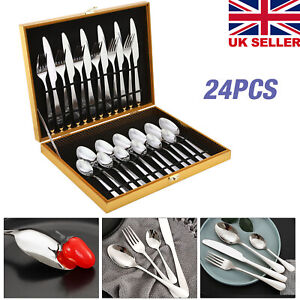 24X Stainless Steel Cutlery Sets Tableware Dining Kitchen Fork Spoons Boxed UK