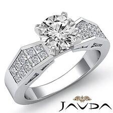 2.18ct Fine Round Diamond Engagement Invisible Set Ring GIA F SI1 14k White Gold