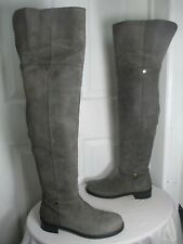 JIMMY CHOO MITTY FLAT GRAY LEATHER OVER THE KNEE BOOTS 41 US 10½ $1395
