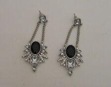 Womens Fashion Earrings Silver Chandeliers Ebony Stone VERSONA Cubic Zirconia
