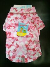 NEW  DOG HAWAIIAN SHIRT, IN PINK AND WHITE, SIZE M