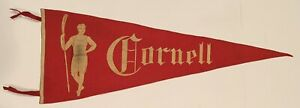 Beautiful Circa 1910 Cornell University Rowing Themed Pennant Antique Crew Old