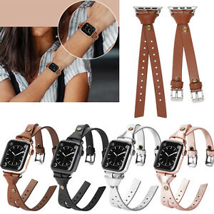 For Apple Watch Leather Designer Band Women iWatch SE Series 6 5 4 3 2 40/44 mm