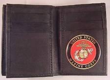 USMC US MARINE CORPS BLACK SOFT LEATHER 20 CREDIT CARD WALLET ID FLAP
