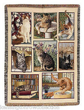 """THROWS - """"CURIOUS CATS"""" TAPESTRY THROW BLANKET - 47"""" x 60"""""""