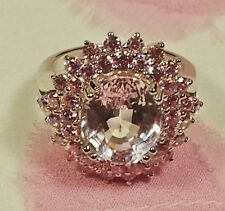 NATURAL  7.70 CT  PINK KUNZITE   &  PINK SAPPHIRE STERLING  SILVER RING  Sz 6.5