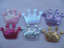 10 x 1.5 INCH SEQUIN CROWN PADDED APPLIQUE EMBELLISHMENT HEADBANDS BOWS