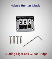 Guitar Bridge Chrome for Cigar Box 3 String Guitar w/3 String Cups Kit Ships USA