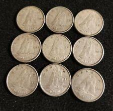 Canada 1958-66 10 cents 80% SILVER Dimes (9 coins) All High Grade Nice Coins