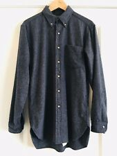 Pendelton Mens Vtg Blue Wool Button Down Long Sleeve Shirt Pocket Fireside M