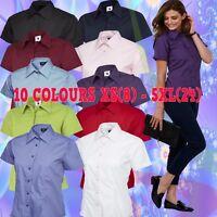 Womens Short Half Sleeve Poplin Shirt Formal Office Work Wear Uniform Ladies TOP