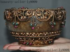Old Tibet crystal Filigree silver mosaic gem carved Dynasty palace Tea cup Bowl