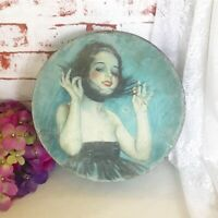"""Antique decorative """"Dancing Girl"""" Tin Box, Green Round canister. Litho Biscuit"""