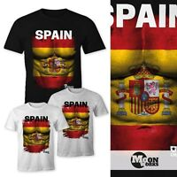 EM T-Shirt Herren Fußball Spanien Spain Flagge Waschbrettbauch España MoonWorks