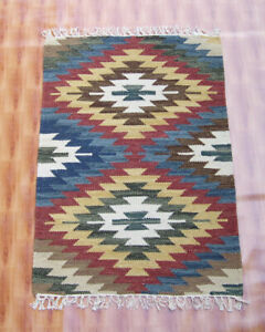 Turkish Faded Multi Color Wool Kilim Dhurrie Rug 2x3 ft Fine Antique Hand Made